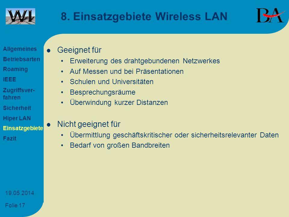 Folie 17 19.05.2014 8. Einsatzgebiete Wireless LAN Geeignet für Erweiterung des drahtgebundenen Netzwerkes Auf Messen und bei Präsentationen Schulen u