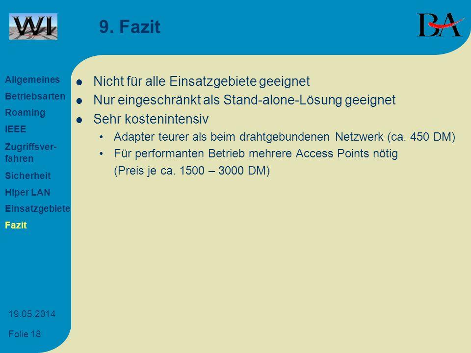 Folie 18 19.05.2014 9. Fazit Nicht für alle Einsatzgebiete geeignet Nur eingeschränkt als Stand-alone-Lösung geeignet Sehr kostenintensiv Adapter teur
