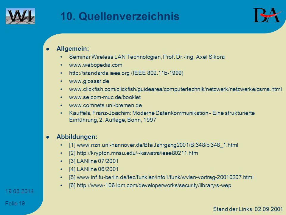 Folie 19 19.05.2014 10. Quellenverzeichnis Allgemein: Seminar Wireless LAN Technologien, Prof. Dr.-Ing. Axel Sikora www.webopedia.com http://standards
