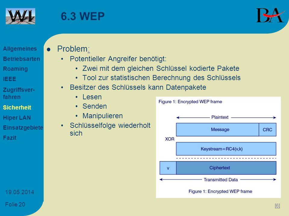 Folie 20 19.05.2014 6.3 WEP Problem:: Potentieller Angreifer benötigt: Zwei mit dem gleichen Schlüssel kodierte Pakete Tool zur statistischen Berechnu