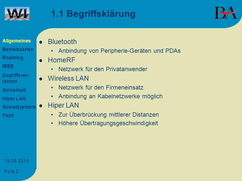Folie 4 19.05.2014 1.2 Hardware-Komponenten Access Point Verschiedene Adapter (PCI, PCMCIA, USB) Antennen (Rundstrahl- und Richtantennen) Allgemeines Betriebsarten Roaming IEEE Zugriffsver- fahren Sicherheit Hiper LAN Einsatzgebiete Fazit