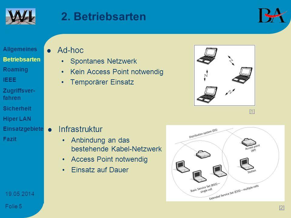 Folie 5 19.05.2014 2. Betriebsarten Ad-hoc Spontanes Netzwerk Kein Access Point notwendig Temporärer Einsatz Infrastruktur Anbindung an das bestehende