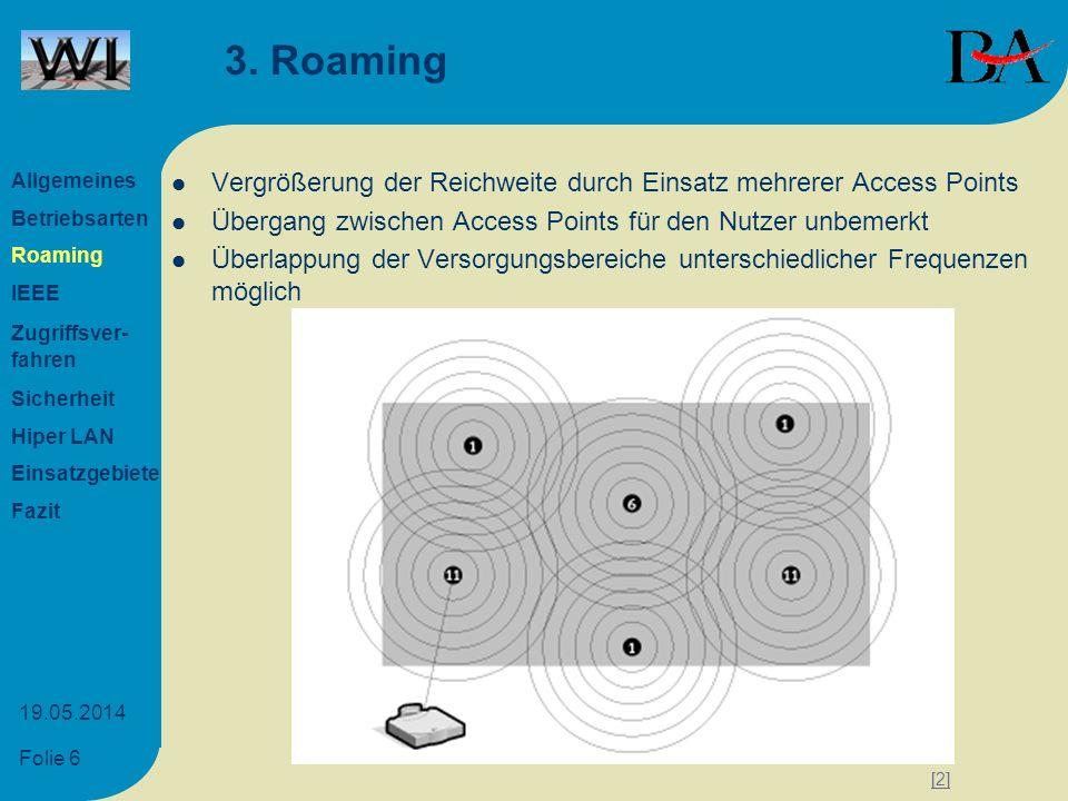 Folie 7 19.05.2014 4.1 IEEE-Standard IEEE Abkürzung für Institute of Electric and Electronic Engineers Internationaler Verband zur Normierung und Standardisierung im Elektronik- und Informatikbereich IEEE 802.11b Datenraten von 1 Mbit, 2 Mbit, 5,5 Mbit, 11 Mbit Datenrate wird nach Qualität des Signals automatisch angepasst oder manuelles einstellen möglich Mehrere Benutzer nutzen eine Funkzelle Frequenz: 2.4 - 2.4835 GHz mit maximal 100 mWatt Sendeleistung Allgemeines Betriebsarten Roaming IEEE Zugriffsver- fahren Sicherheit Hiper LAN Einsatzgebiete Fazit