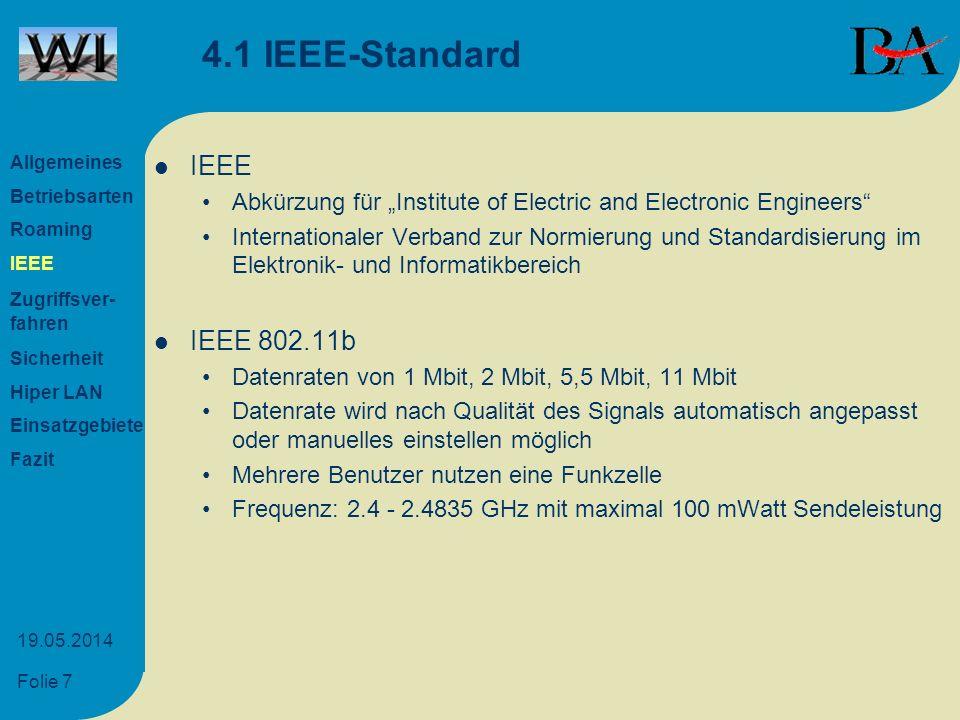 Folie 8 19.05.2014 4.2 Entwicklung des IEEE 802.11 802.11 1 oder 2 Mbit 2,4 GHz FHSS, DSSS 802.11a 54 Mbit 5 GHz FHSS, DSSS 802.11b 11 Mbit 2,4 GHz nur DSSS 802.11g Erweiterung auf 20 Mbit 802.11h Anpassung an europ.