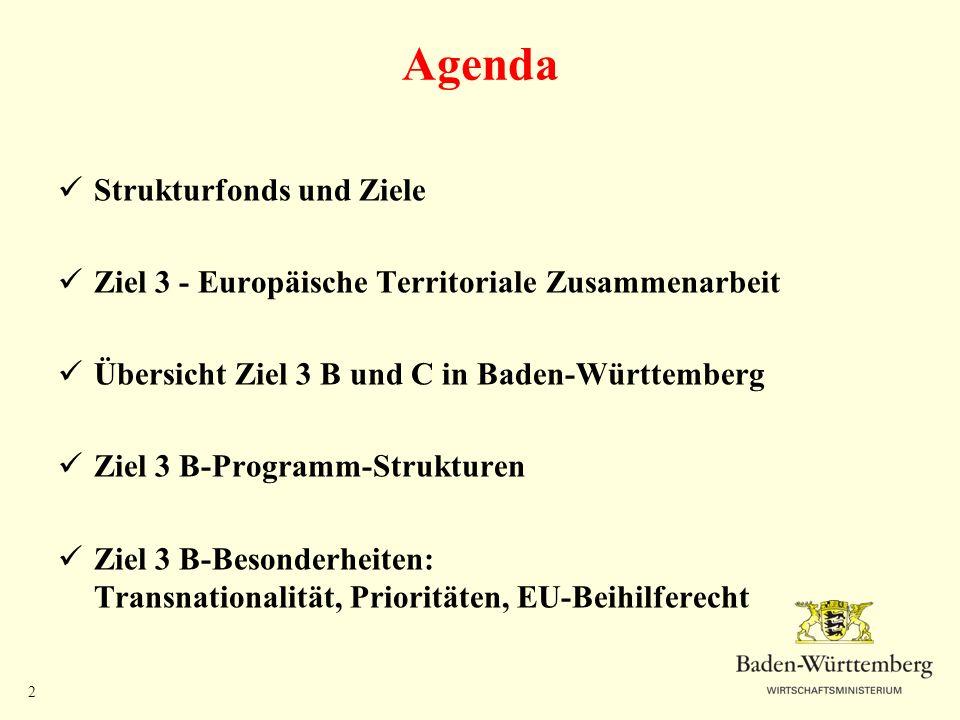 2 Agenda Strukturfonds und Ziele Ziel 3 - Europäische Territoriale Zusammenarbeit Übersicht Ziel 3 B und C in Baden-Württemberg Ziel 3 B-Programm-Stru