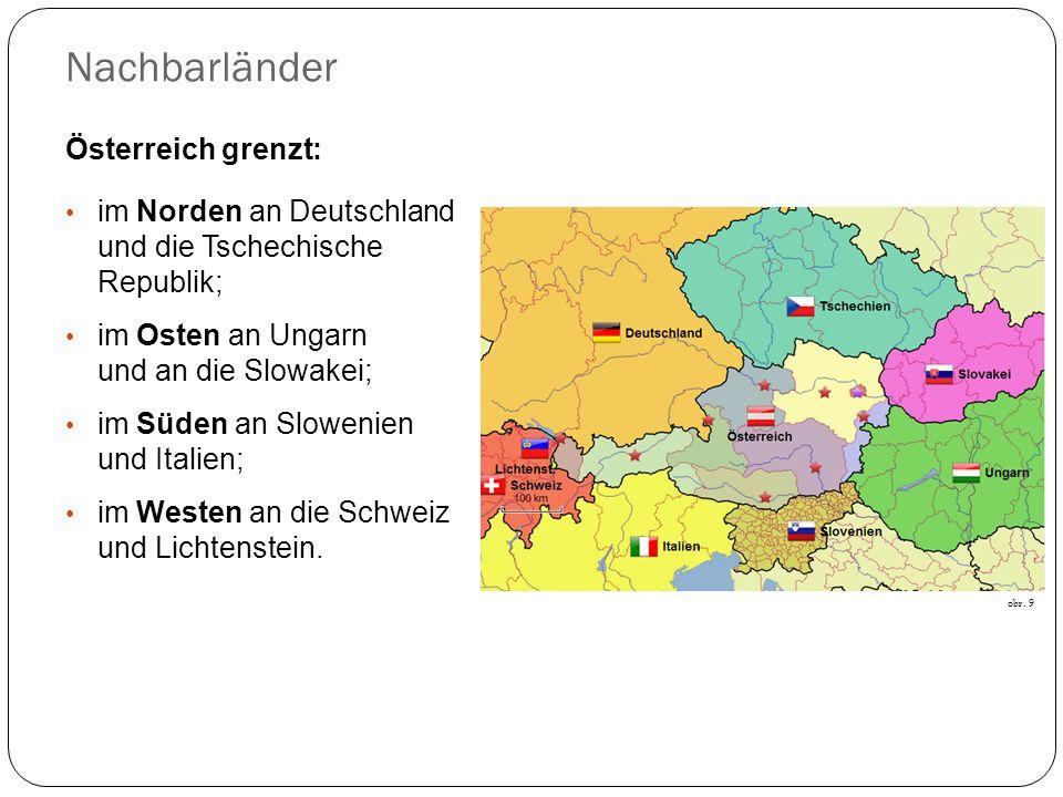 Nachbarländer Österreich grenzt: im Norden an Deutschland und die Tschechische Republik; im Osten an Ungarn und an die Slowakei; im Süden an Slowenien