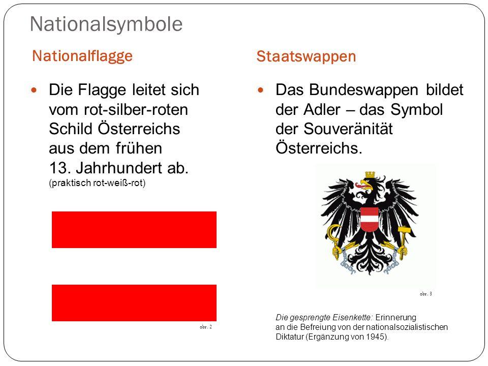 Nationalsymbole Nationalflagge Staatswappen Die Flagge leitet sich vom rot-silber-roten Schild Österreichs aus dem frühen 13. Jahrhundert ab. (praktis