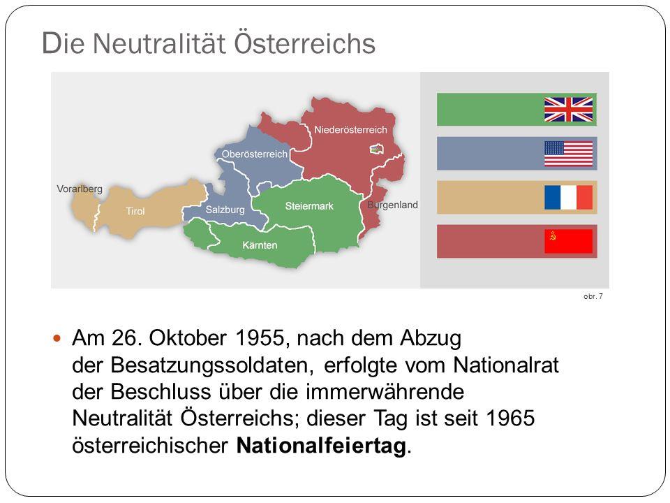 D ie Neutralität Österreichs Am 26. Oktober 1955, nach dem Abzug der Besatzungssoldaten, erfolgte vom Nationalrat der Beschluss über die immerwährende