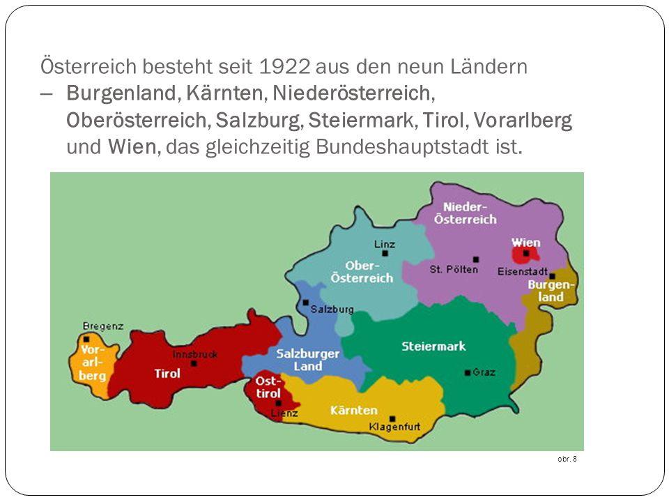 Österreich besteht seit 1922 aus den neun Ländern – Burgenland, Kärnten, Niederösterreich, Oberösterreich, Salzburg, Steiermark, Tirol, Vorarlberg und