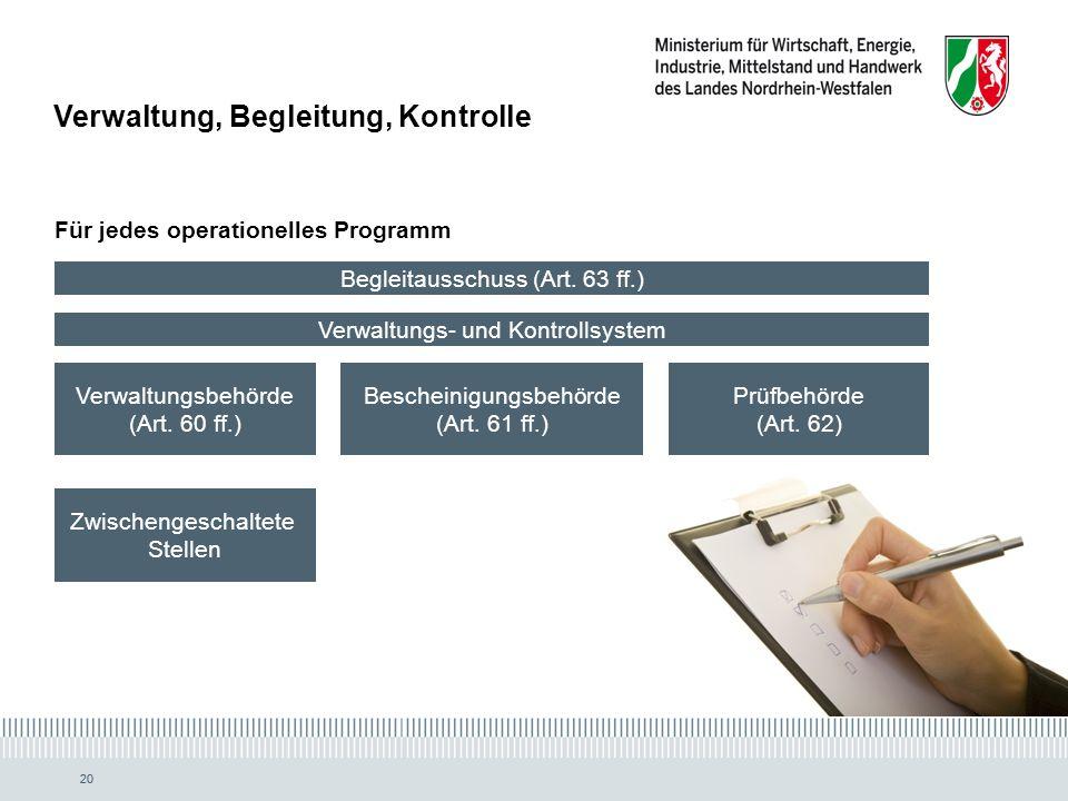 20 Begleitausschuss (Art.63 ff.) Verwaltungsbehörde (Art.