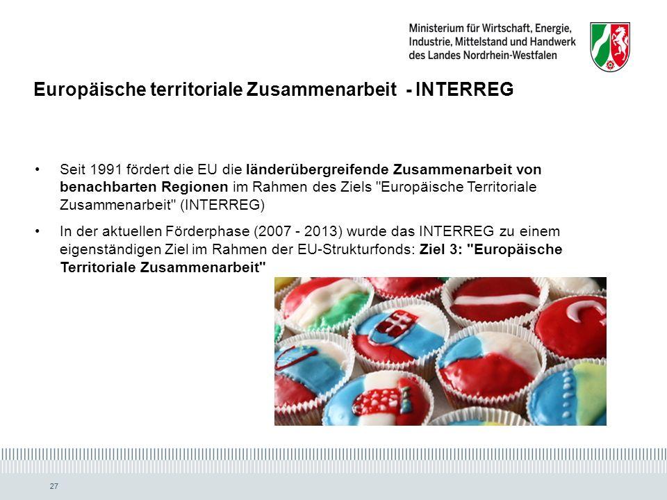 27 Europäische territoriale Zusammenarbeit - INTERREG Seit 1991 fördert die EU die länderübergreifende Zusammenarbeit von benachbarten Regionen im Rahmen des Ziels Europäische Territoriale Zusammenarbeit (INTERREG) In der aktuellen Förderphase (2007 - 2013) wurde das INTERREG zu einem eigenständigen Ziel im Rahmen der EU-Strukturfonds: Ziel 3: Europäische Territoriale Zusammenarbeit