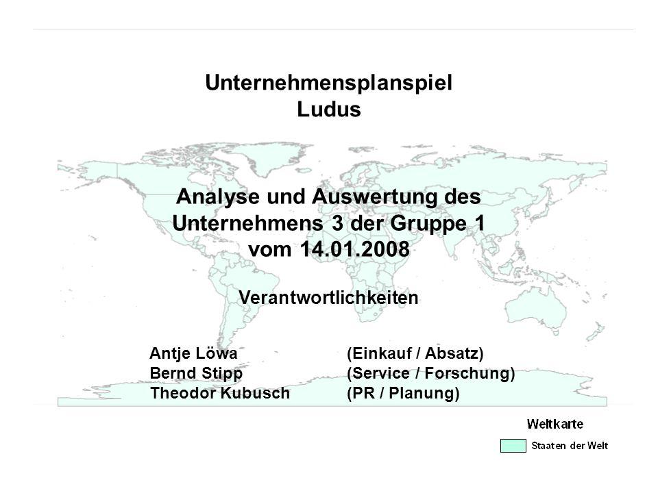 Unternehmensplanspiel Ludus Analyse und Auswertung des Unternehmens 3 der Gruppe 1 vom 14.01.2008 Antje Löwa (Einkauf / Absatz) Bernd Stipp (Service /