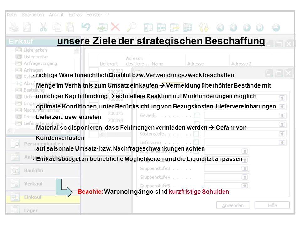 unsere Ziele der strategischen Beschaffung - richtige Ware hinsichtlich Qualität bzw. Verwendungszweck beschaffen - Menge im Verhältnis zum Umsatz ein