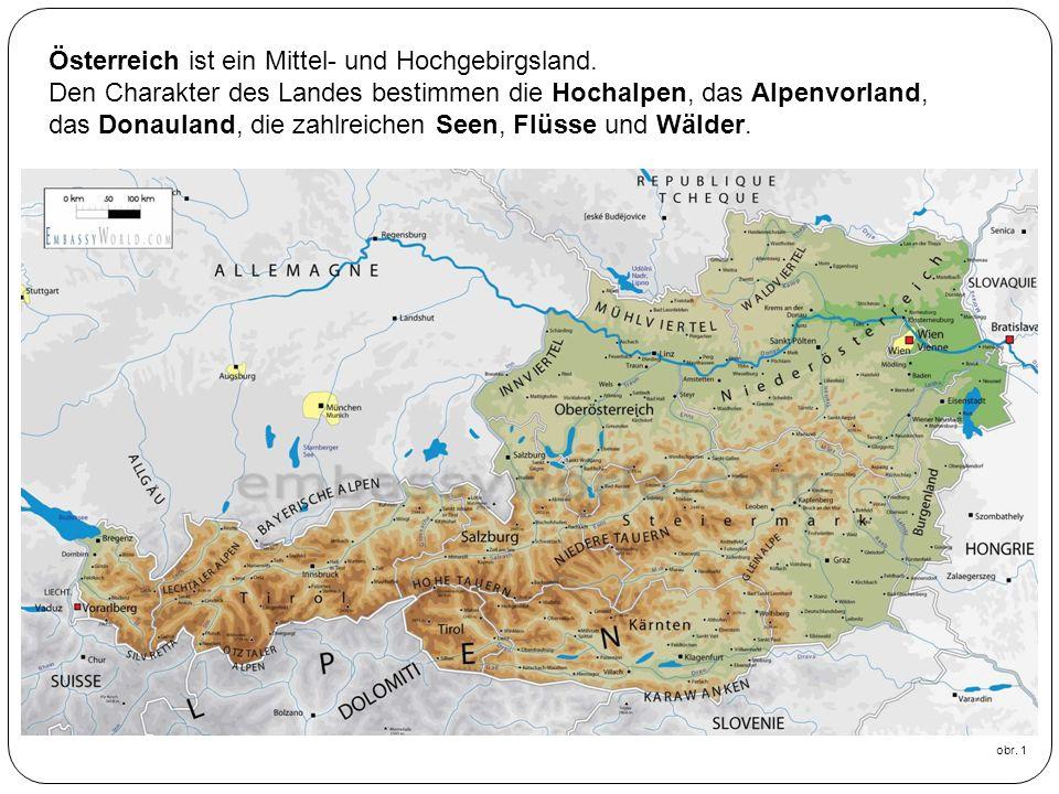63% des Staatsgebietes gehören zu den Ostalpen, sie gliedern sich in drei Zonen: die Nordkalkalpen die Salzburger Kalkalpen das Dachsteinmassiv Weiter sind die Zentralalpen.