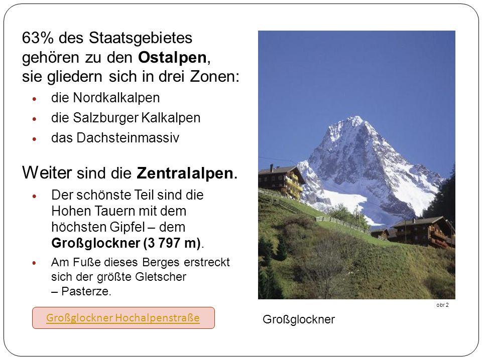 63% des Staatsgebietes gehören zu den Ostalpen, sie gliedern sich in drei Zonen: die Nordkalkalpen die Salzburger Kalkalpen das Dachsteinmassiv Weiter