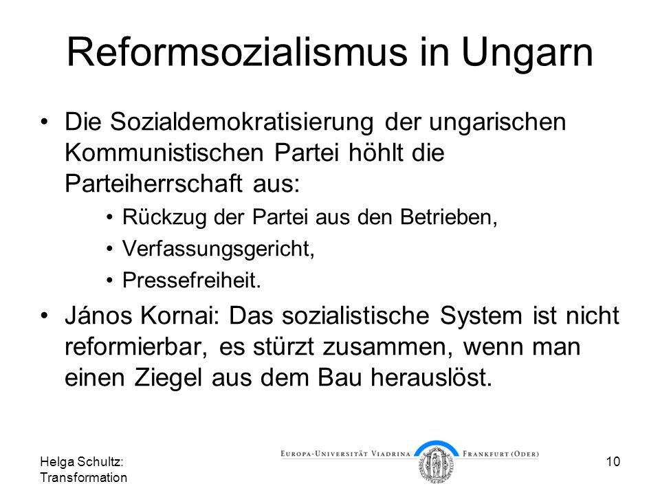 Helga Schultz: Transformation 10 Reformsozialismus in Ungarn Die Sozialdemokratisierung der ungarischen Kommunistischen Partei höhlt die Parteiherrschaft aus: Rückzug der Partei aus den Betrieben, Verfassungsgericht, Pressefreiheit.