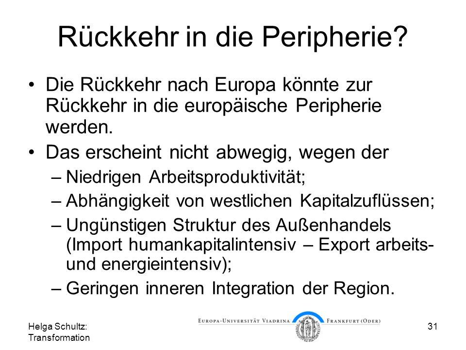 Helga Schultz: Transformation 31 Rückkehr in die Peripherie.