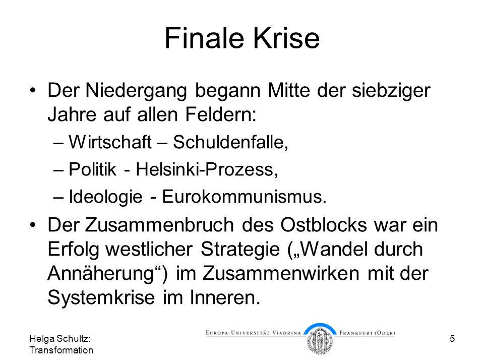 Helga Schultz: Transformation 5 Finale Krise Der Niedergang begann Mitte der siebziger Jahre auf allen Feldern: –Wirtschaft – Schuldenfalle, –Politik - Helsinki-Prozess, –Ideologie - Eurokommunismus.