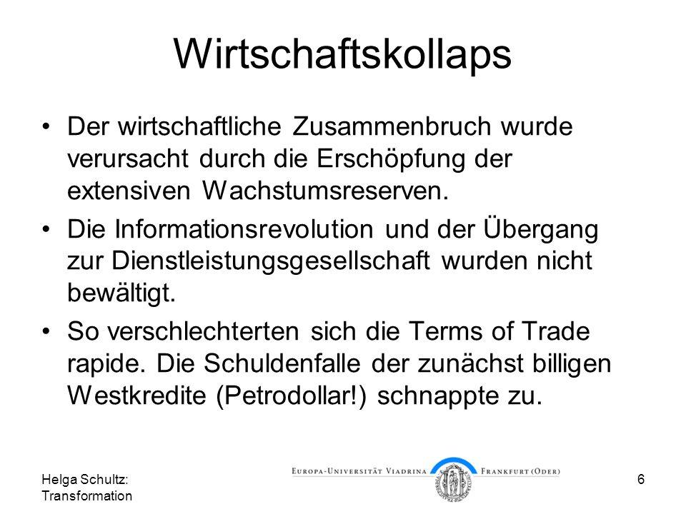 Helga Schultz: Transformation 7 Die Wirtschaft entscheidet Die wirtschaftliche Misere entschied zugleich über den Ausgang des Wettrüstens und über den Abstieg der Sowjetunion als Supermacht unter Gorbatschow.