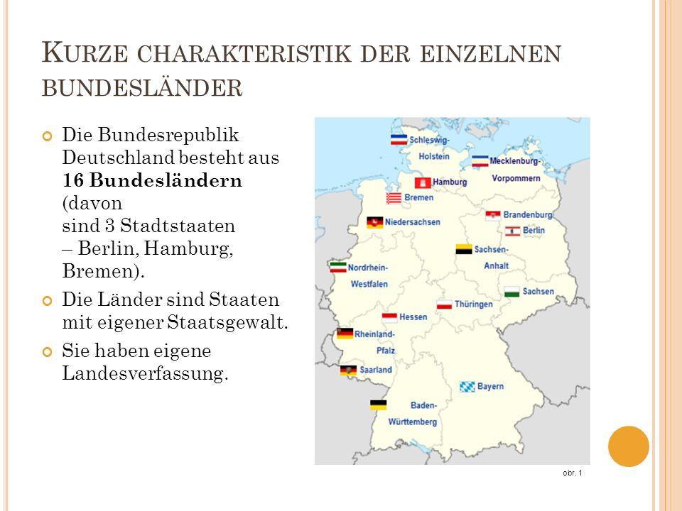 K URZE CHARAKTERISTIK DER EINZELNEN BUNDESLÄNDER Die Bundesrepublik Deutschland besteht aus 16 Bundesländern (davon sind 3 Stadtstaaten – Berlin, Hamburg, Bremen).