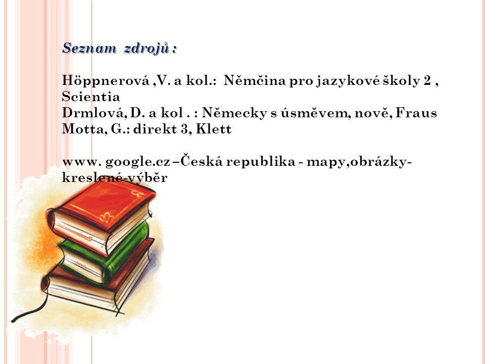 Seznam zdrojů : Höppnerová,V. a kol.: Němčina pro jazykové školy 2, Scientia Drmlová, D. a kol. : Německy s úsměvem, nově, Fraus Motta, G.: direkt 3,