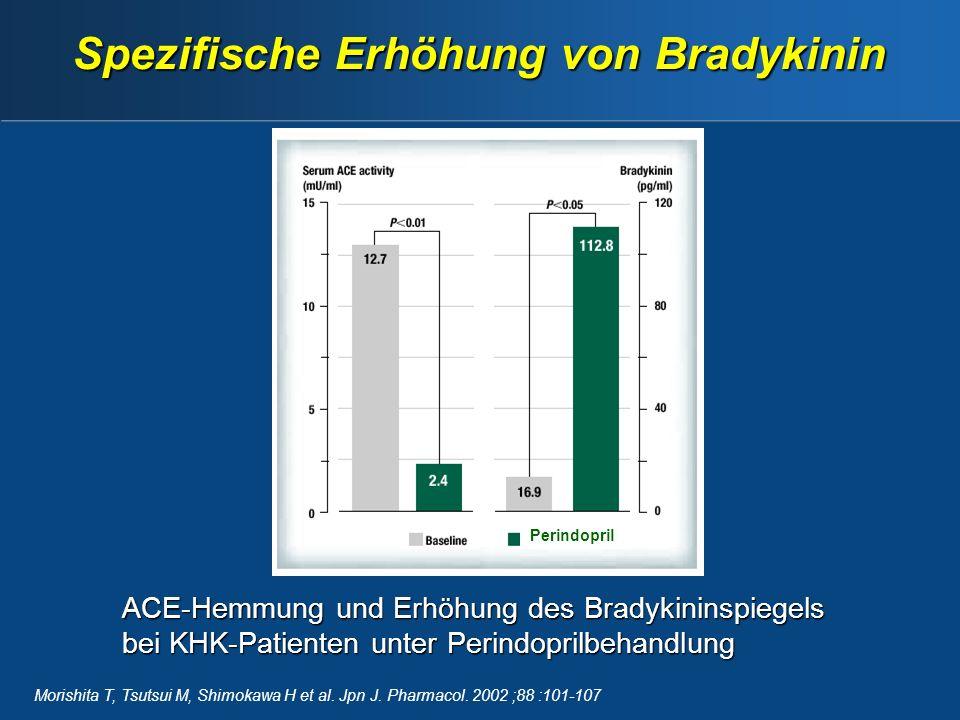 Spezifische Erhöhung von Bradykinin Perindopril Morishita T, Tsutsui M, Shimokawa H et al.