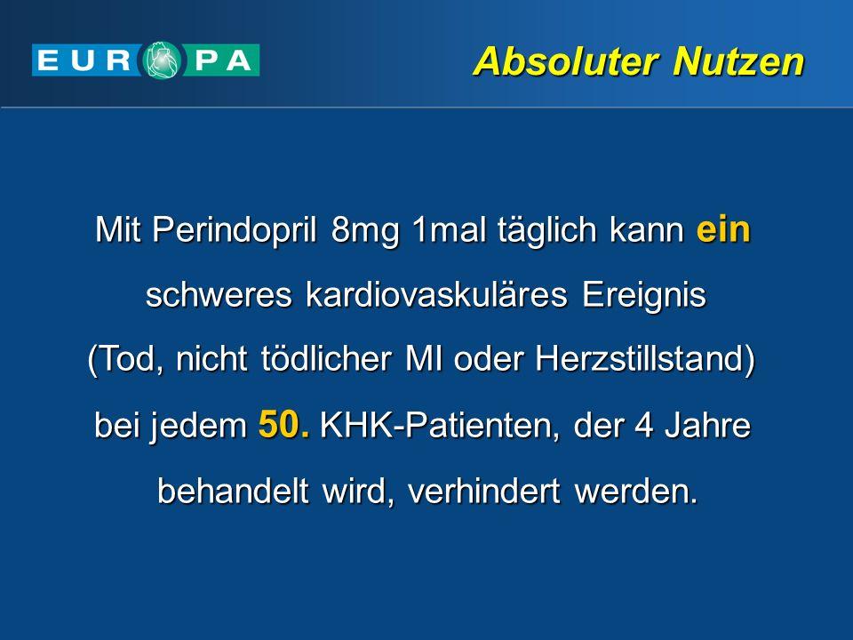 Absoluter Nutzen Mit Perindopril 8mg 1mal täglich kann ein schweres kardiovaskuläres Ereignis (Tod, nicht tödlicher MI oder Herzstillstand) bei jedem 50.