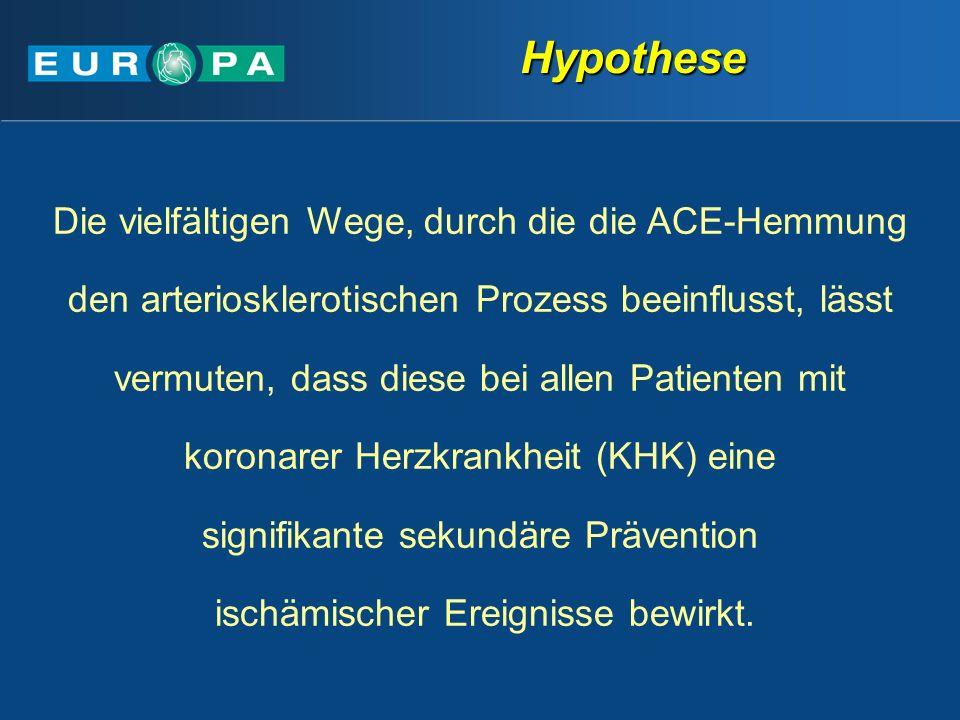 Die vielfältigen Wege, durch die die ACE-Hemmung den arteriosklerotischen Prozess beeinflusst, lässt vermuten, dass diese bei allen Patienten mit koronarer Herzkrankheit (KHK) eine signifikante sekundäre Prävention ischämischer Ereignisse bewirkt.