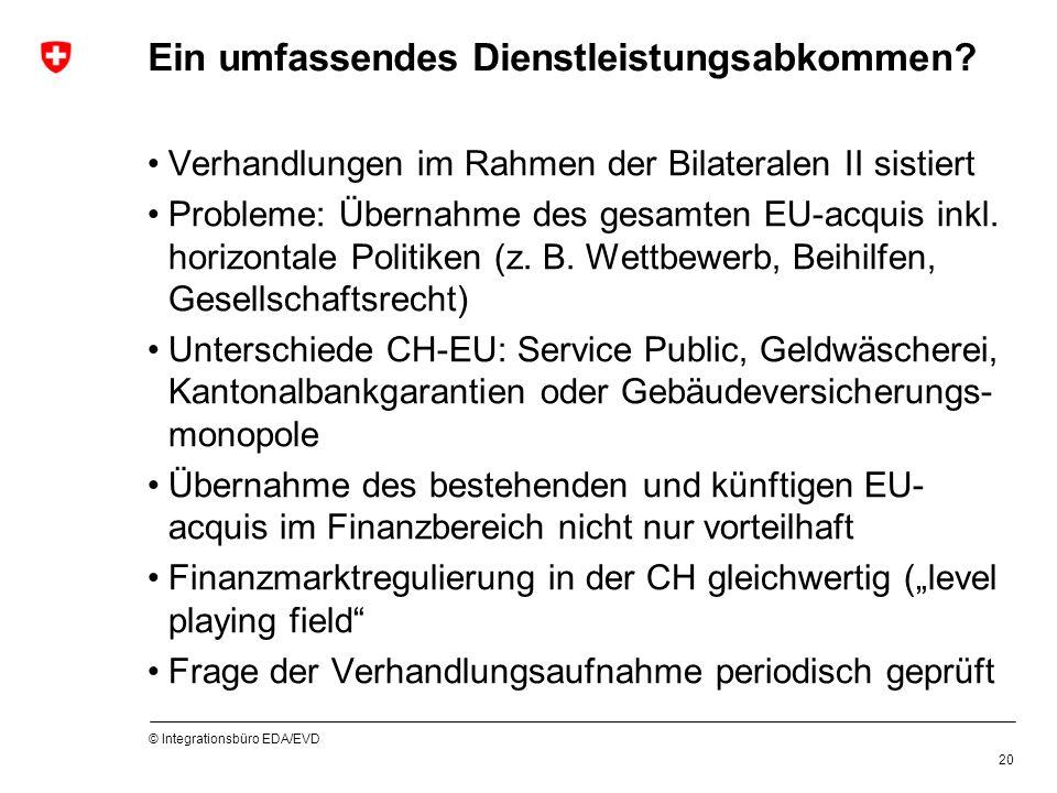 © Integrationsbüro EDA/EVD 20 Ein umfassendes Dienstleistungsabkommen? Verhandlungen im Rahmen der Bilateralen II sistiert Probleme: Übernahme des ges