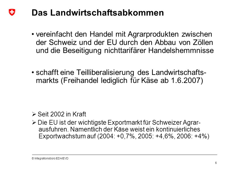 © Integrationsbüro EDA/EVD 6 Das Landwirtschaftsabkommen vereinfacht den Handel mit Agrarprodukten zwischen der Schweiz und der EU durch den Abbau von Zöllen und die Beseitigung nichttarifärer Handelshemmnisse schafft eine Teilliberalisierung des Landwirtschafts- markts (Freihandel lediglich für Käse ab 1.6.2007) Seit 2002 in Kraft Die EU ist der wichtigste Exportmarkt für Schweizer Agrar- ausfuhren.