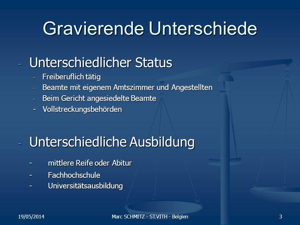 Gravierende Unterschiede - Unterschiedliche Zuständigkeitsbereiche - Mobiliarvollstreckungen - Immobilienvollstreckungen - Forderungspfändungen - Zustellungen - Tatsachenfeststellungen - Inkassotätigkeit - Rechtsberatung - Konkursverwalter - Sequester - Örtliche Zuständigkeit 19/05/2014Marc SCHMITZ - ST.VITH - Belgien4