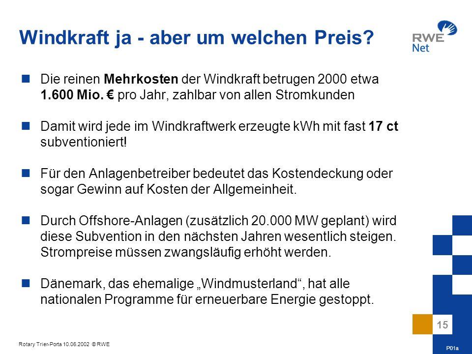 15 Rotary Trier-Porta 10.06.2002 © RWE Windkraft ja - aber um welchen Preis? Die reinen Mehrkosten der Windkraft betrugen 2000 etwa 1.600 Mio. pro Jah