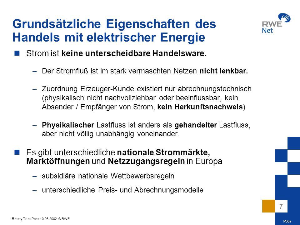 8 Rotary Trier-Porta 10.06.2002 © RWE Die Größe des Versorgungsnetzes hat qualitative Auswirkungen auf die elektrische Energieversorgung.
