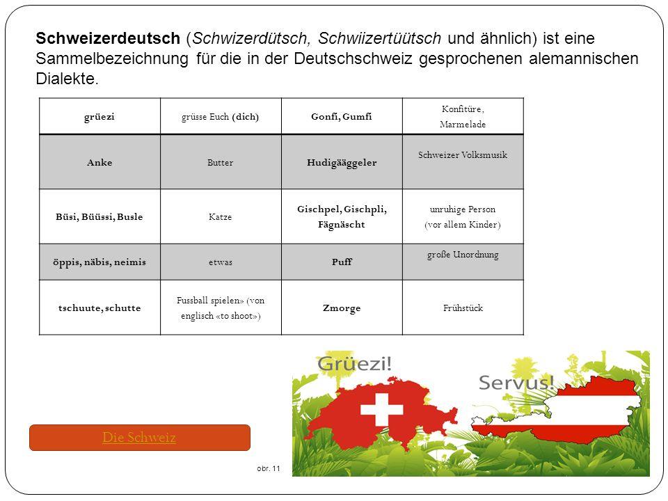 Schweizerdeutsch (Schwizerdütsch, Schwiizertüütsch und ähnlich) ist eine Sammelbezeichnung für die in der Deutschschweiz gesprochenen alemannischen Dialekte.