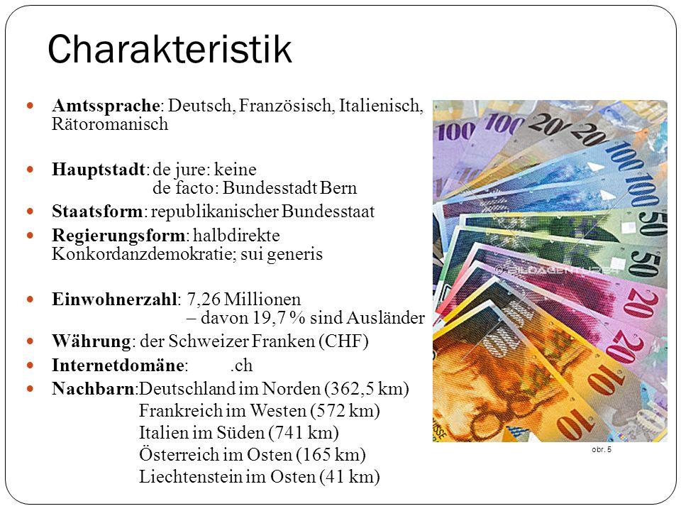 Charakteristik Amtssprache: Deutsch, Französisch, Italienisch, Rätoromanisch Hauptstadt:de jure: keine de facto: Bundesstadt Bern Staatsform: republikanischer Bundesstaat Regierungsform: halbdirekte Konkordanzdemokratie; sui generis Einwohnerzahl:7,26 Millionen – davon 19,7 % sind Ausländer Währung: der Schweizer Franken (CHF) Internetdomäne:.ch Nachbarn:Deutschland im Norden (362,5 km) Frankreich im Westen (572 km) Italien im Süden (741 km) Österreich im Osten (165 km) Liechtenstein im Osten (41 km) obr.