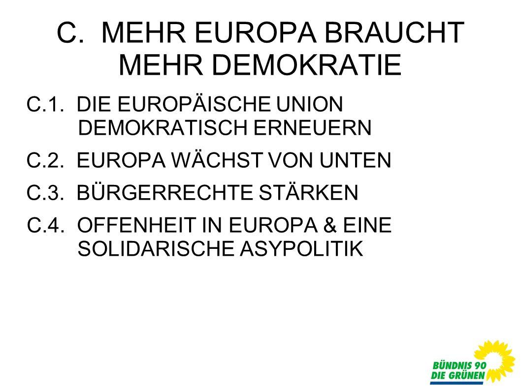 C. MEHR EUROPA BRAUCHT MEHR DEMOKRATIE C.1. DIE EUROPÄISCHE UNION DEMOKRATISCH ERNEUERN C.2.
