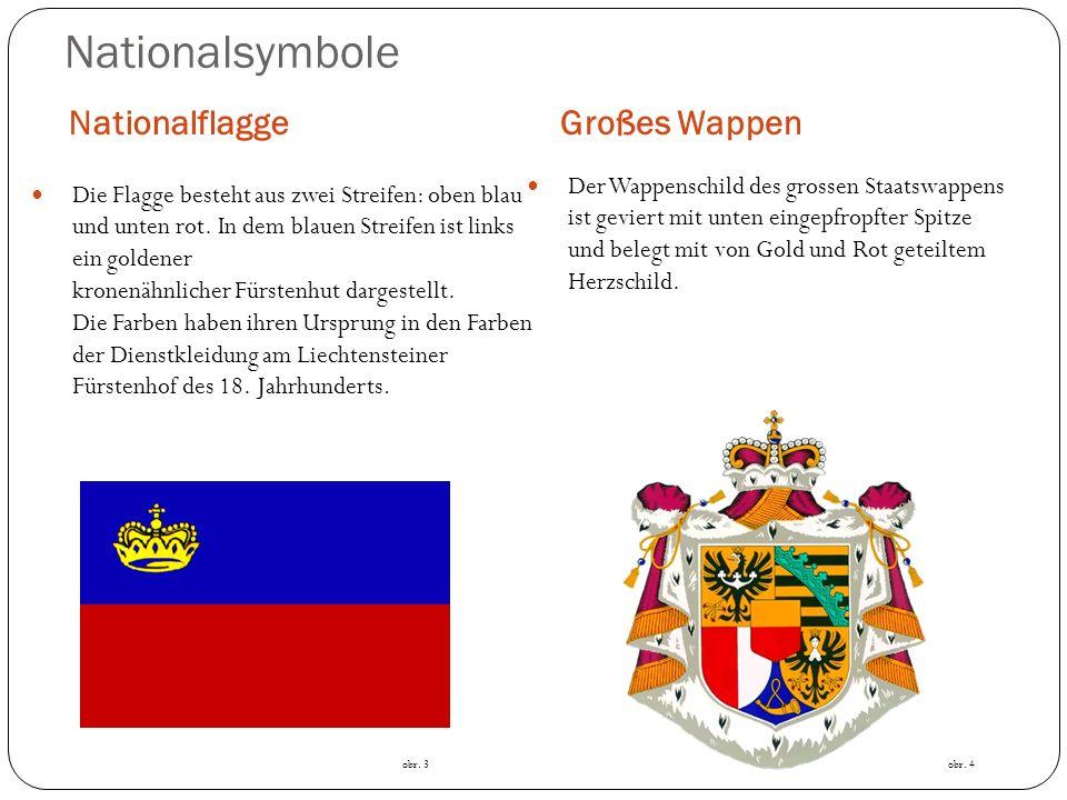Das grosse Wappen zeigt sechs einzelne Wappenmotive, die auf die Geschichte und Herkunft des Hauses Liechtenstein hinweisen: Zentral ist das golden-rote Stammwappen der Liechtensteiner als Herzschild des Wappens.