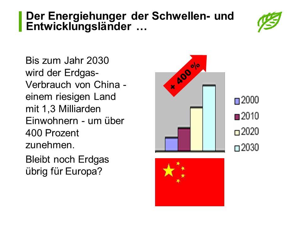 Der Energiehunger der Schwellen- und Entwicklungsländer … Bis zum Jahr 2030 wird der Erdgas- Verbrauch von China - einem riesigen Land mit 1,3 Milliar