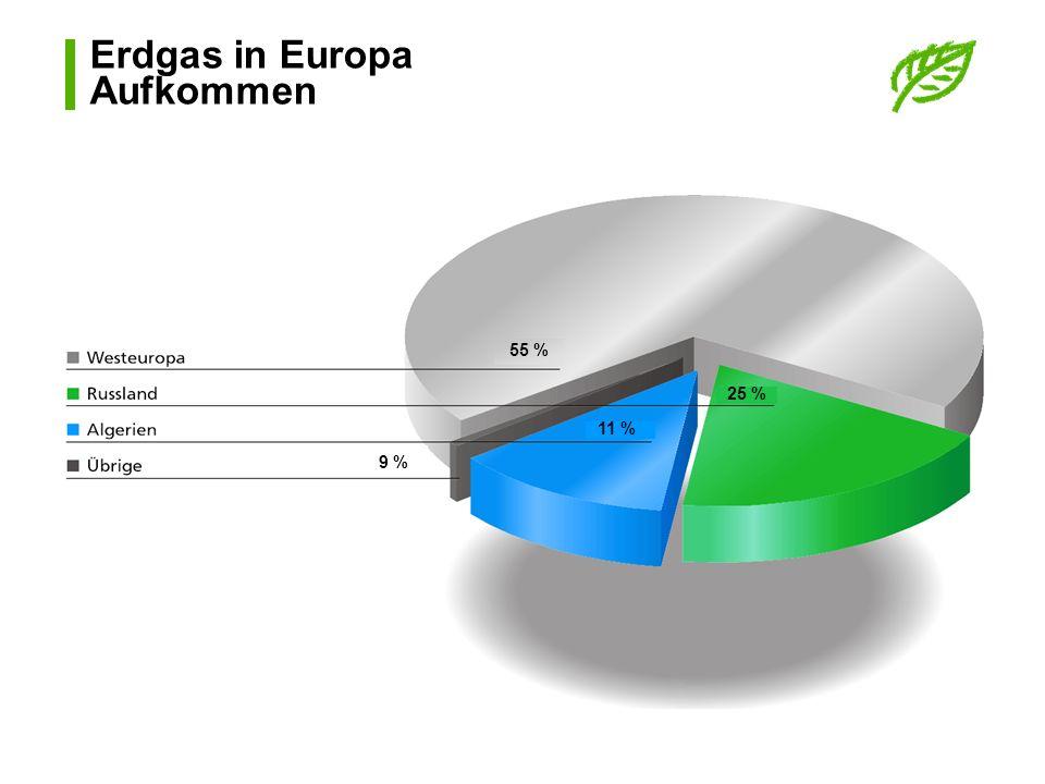 Erdgas in Europa Aufkommen 55 % 25 % 11 % 9 %
