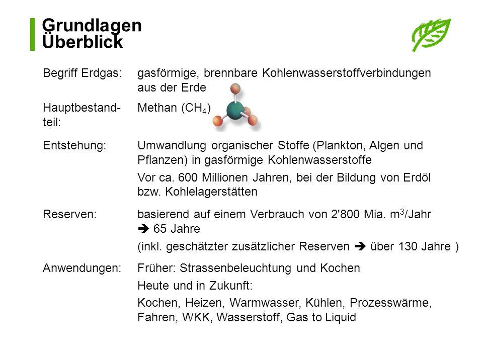 Grundlagen Überblick Begriff Erdgas:gasförmige, brennbare Kohlenwasserstoffverbindungen aus der Erde Hauptbestand- teil: Methan (CH 4 ) Entstehung:Umw