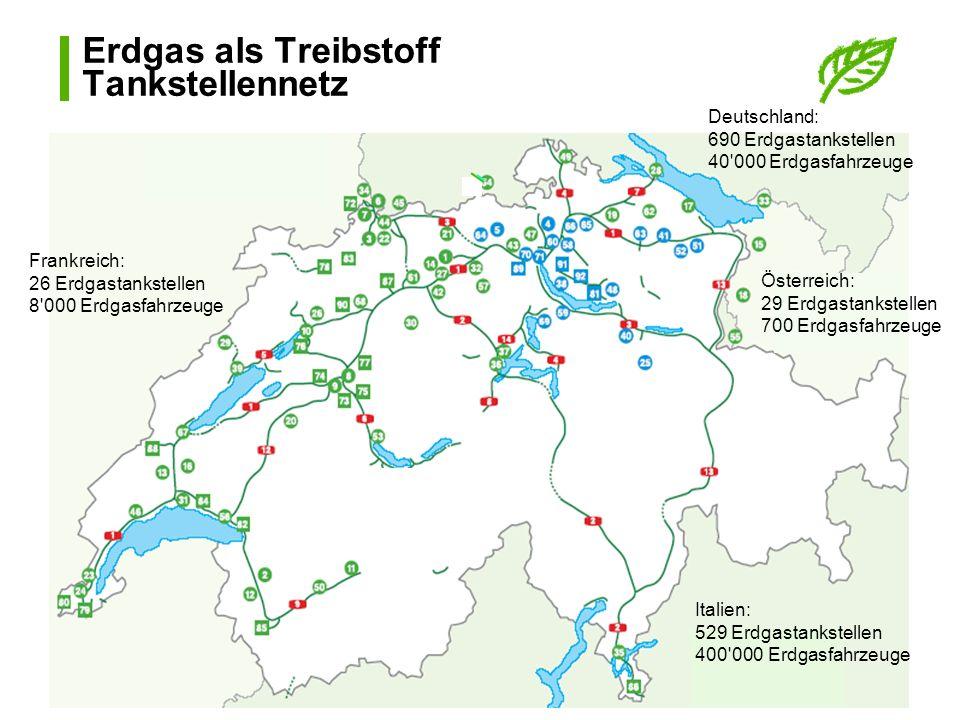 Erdgas als Treibstoff Tankstellennetz Italien: 529 Erdgastankstellen 400'000 Erdgasfahrzeuge Österreich: 29 Erdgastankstellen 700 Erdgasfahrzeuge Deut