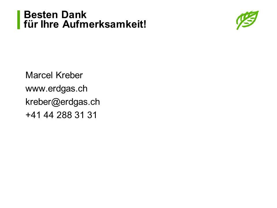 Besten Dank für Ihre Aufmerksamkeit! Marcel Kreber www.erdgas.ch kreber@erdgas.ch +41 44 288 31 31