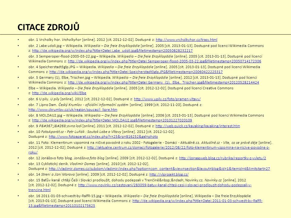 CITACE ZDROJŮ obr. 1 Vrcholky hor. Vrcholkyhor [online]. 2012 [cit. 2012-12-02]. Dostupné z: http://www.vrcholkyhor.cz/trasy.htmlhttp://www.vrcholkyho