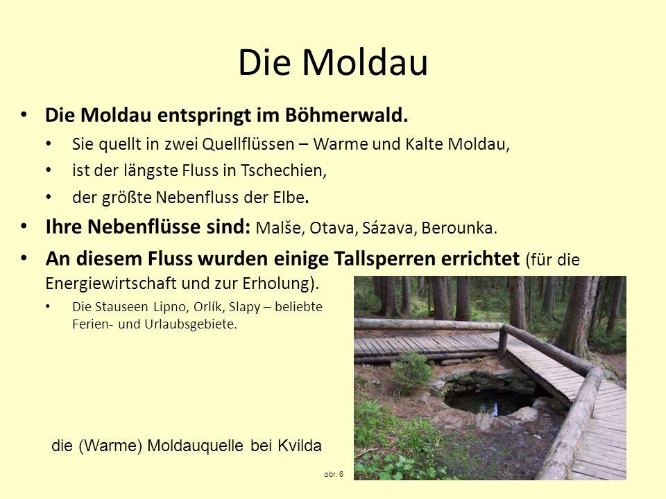 Die Moldau Die Moldau entspringt im Böhmerwald. Sie quellt in zwei Quellflüssen – Warme und Kalte Moldau, ist der längste Fluss in Tschechien, der grö
