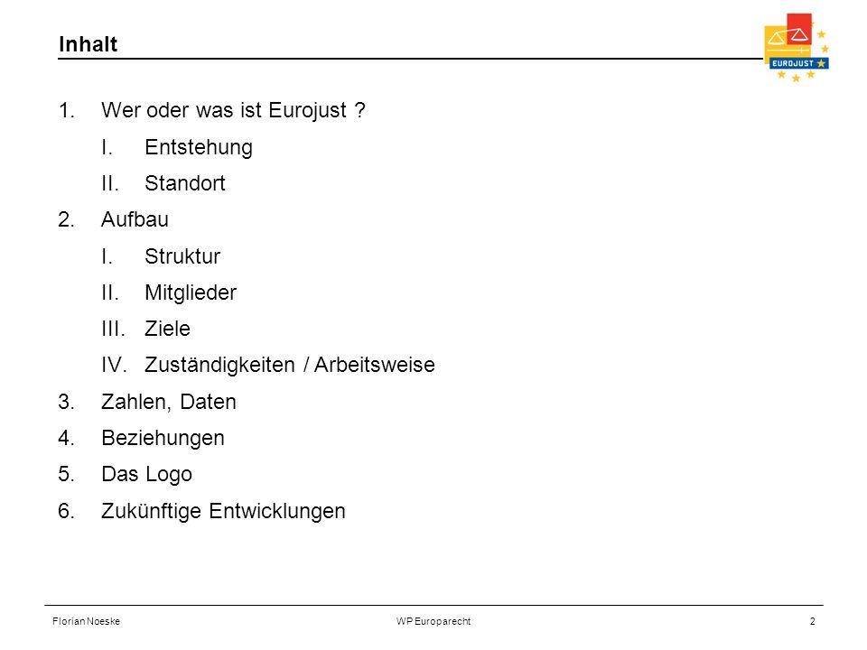 Florian NoeskeWP Europarecht2 Inhalt 1.Wer oder was ist Eurojust ? I.Entstehung II.Standort 2.Aufbau I.Struktur II.Mitglieder III.Ziele IV.Zuständigke