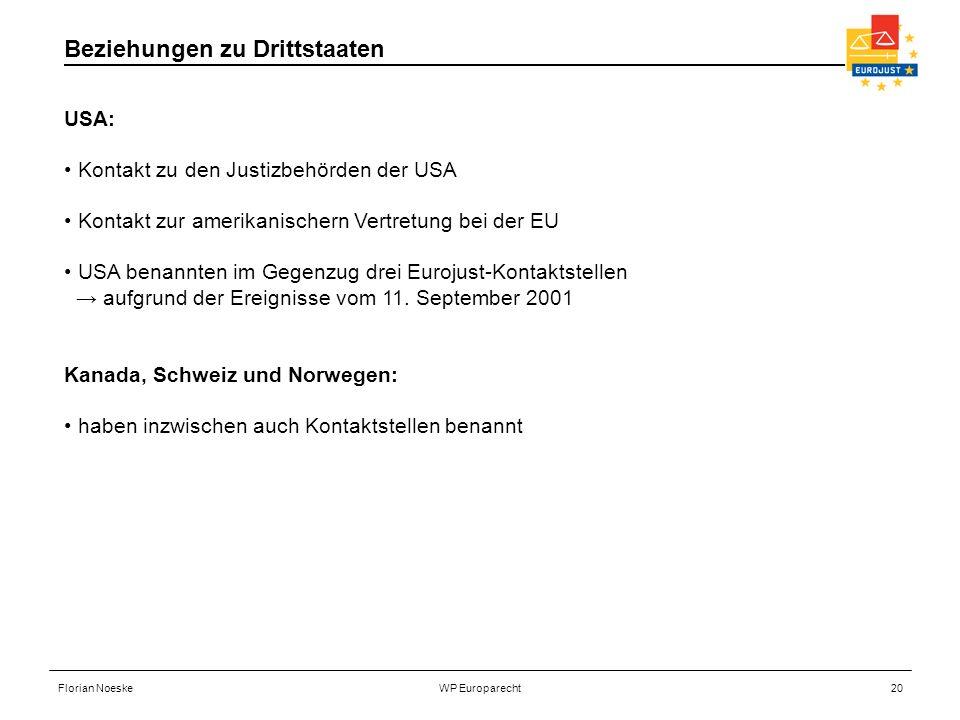 Florian NoeskeWP Europarecht20 USA: Kontakt zu den Justizbehörden der USA Kontakt zur amerikanischern Vertretung bei der EU USA benannten im Gegenzug