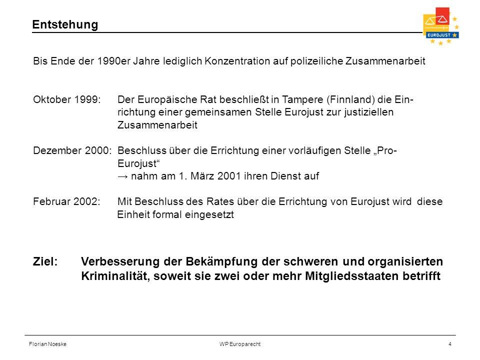 Florian NoeskeWP Europarecht4 Bis Ende der 1990er Jahre lediglich Konzentration auf polizeiliche Zusammenarbeit Oktober 1999: Der Europäische Rat besc