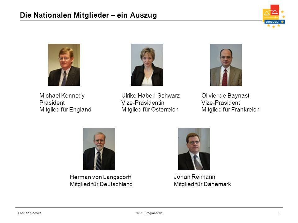 Florian NoeskeWP Europarecht8 Die Nationalen Mitglieder – ein Auszug Ulrike Haberl-Schwarz Vize-Präsidentin Mitglied für Österreich Olivier de Baynast