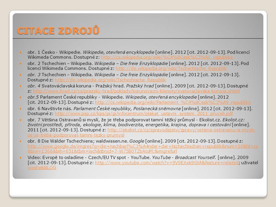 obr. 1 Česko - Wikipedie. Wikipedie, otevřená encyklopedie [online]. 2012 [cit. 2012-09-13]. Pod licencí Wikimeda Commons. Dostupné z: http://cs.wikip