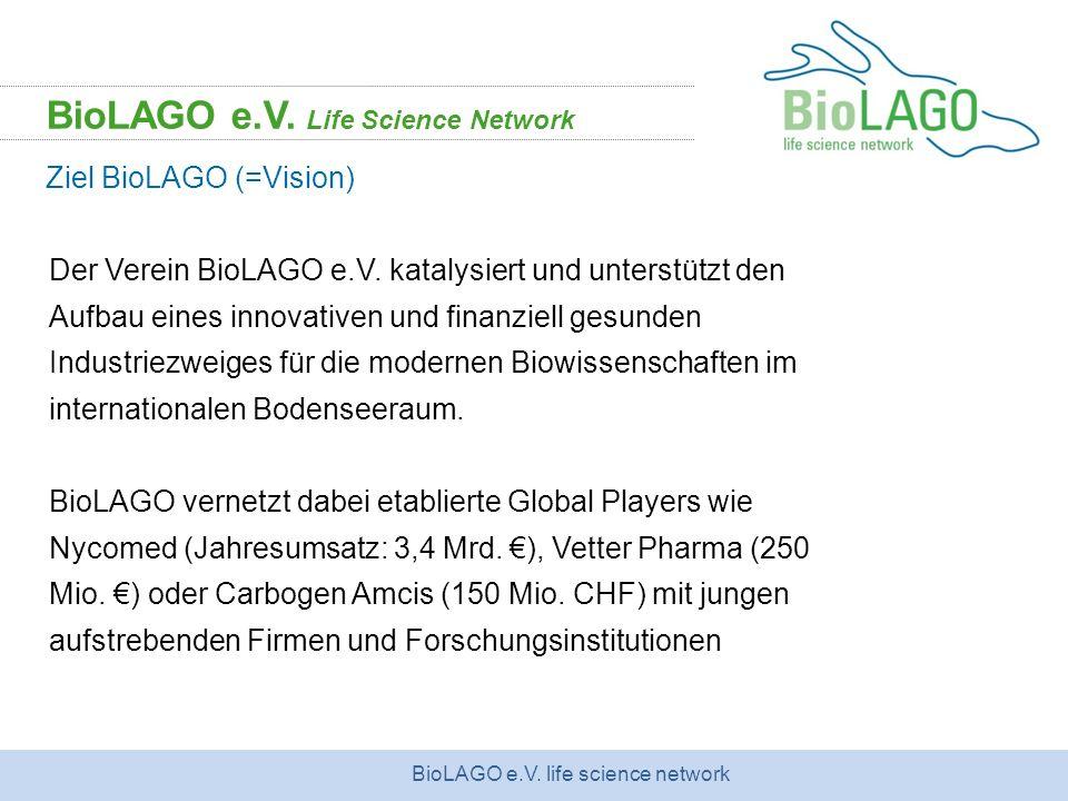 BioLAGO e.V. life science network Der Verein BioLAGO e.V. katalysiert und unterstützt den Aufbau eines innovativen und finanziell gesunden Industriezw